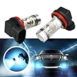 (US) LED Fog Driving Bulb LinkStyle 2 Pack 8000K High Power H8 H11 LED Fog Replacement Bulbs 100W Daytime Running Bulbs for Fog Light Lamps Replacement