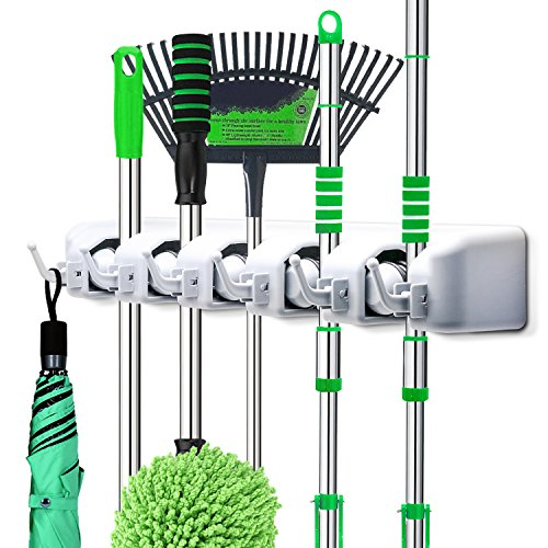 LETMY Broom Holder Wall Mounted - Mop and Broom Hanger Holder - Garage Storage Rack&Garden Tool Organizer - 5 Position 6 Hooks for Home, Kitchen, Garden, Tools, Garage Organizing from LETMY
