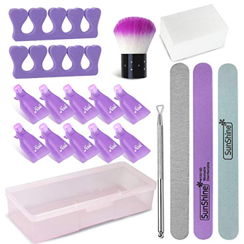 Gel Nail Polish Remover Kit, Nail Polish Remover Tool with Nail Clips, Nail File, Nail Brush, Triangle Cuticle Peeler Scraper, Finger Separators, Lint Free Nail Wipes for Gel (Purple)