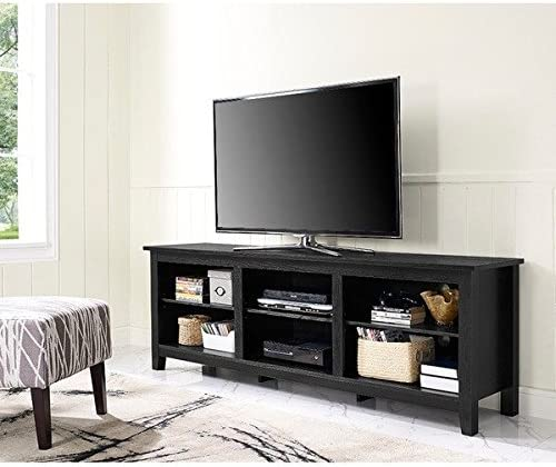 70 Essentials TV Stand – Black High-Grade MDF and Durable Laminate