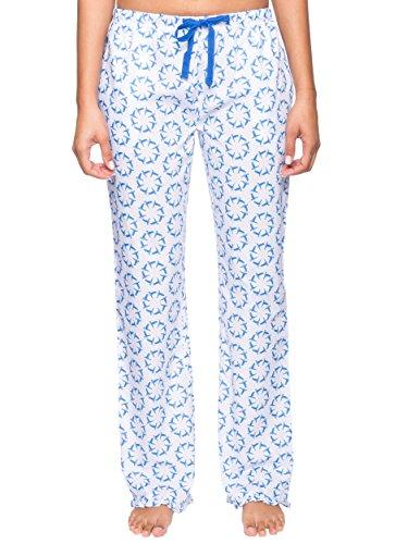 Noble Mount Women's 100% Cotton Poplin Lounge Pants - Humming Wheels White/Blue - - Cotton Poplin Pajama