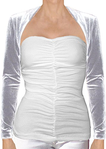 Ooh la la Long Sleeve Stretch Lace or Velvet Cropped Bolero Shrug Jacket (Small 31-32, Silver Velvet) (Bolero Nylon)