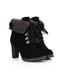 Leanna@ Women Winter Autumn Fashion Sexy Platform High Heels Lace Up Suede Ankle Motorcycle Martin Boots
