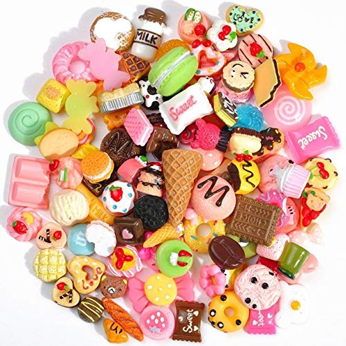 Plastic Slime Charms Mixed 60-Pack Food Cake Ice-Cream Chocolate Cookie Dessert Resin Flatback Slime Beads Making Supplies for DIY Crafts