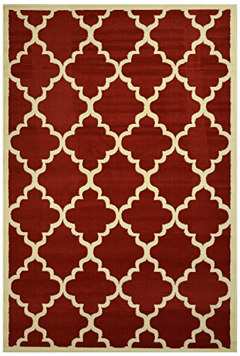 Moroccan Trellis Modern Area Rug Rugs Modela Collection (Red, 7'9