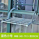 Yomiokla Bathroom Accessories - Bathroom Metal Towel Ring Stainless Steel Drying Rack Hanging Out of Window, Indoor Heating Parapet of Shoe Towel Folding Clothes Rack Retractable Blue Small