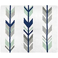 Sweet JoJo Designs Accent Floor Rug Bedroom Decor for Grey, Navy and Mint Woodland Arrow Kids Bedding Collection