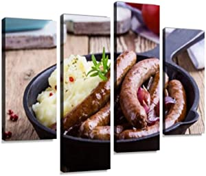 YKing1 Sausage and Onion Casserole Sausage Stock Pictures, Royalty Free Wall Art Painting Pictures Print On Canvas Stretched & Framed Artworks Modern Hanging Posters Home Decor 4PANEL