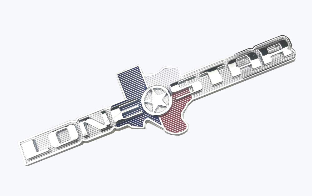 Chrome Lone Star Edition Texas Tailgate Rear Badge Emblem Sticker Decal Replacement for Ram 1500 2500 3500 F150