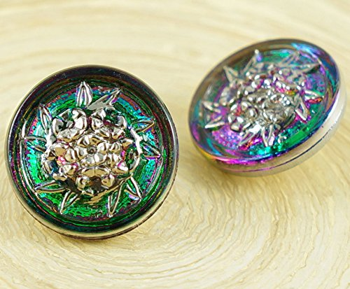 1pc Crystal Vitrail Dichroic Purple Green Silver Flower Bunch Bouquet Round Handmade Czech Glass Button Size 8 18mm