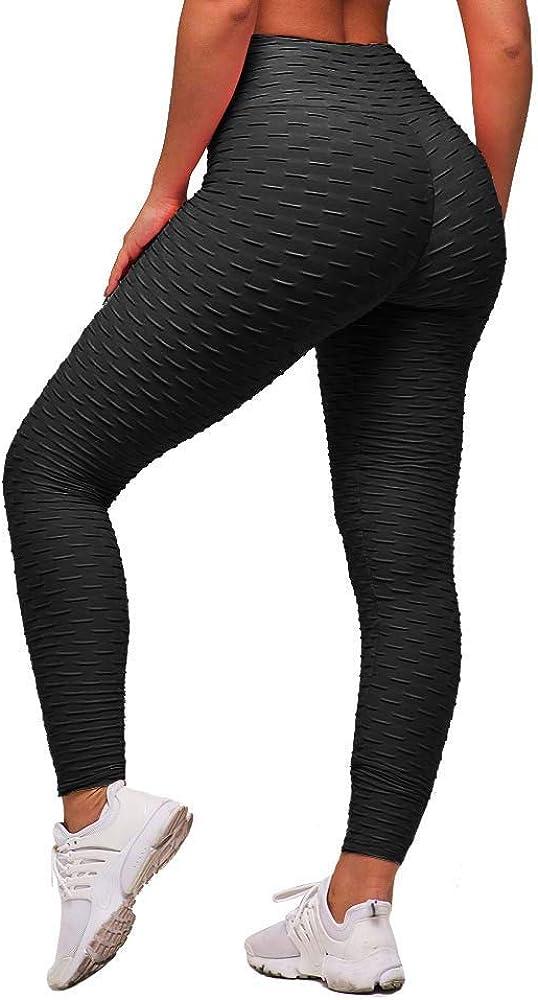 Memoryee Panal arrugado para nalgas de las mujeres leggings Levante los pantalones de yoga de cintura alta Elegante con gimnasio de control de la barriga