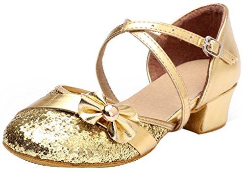 Abby 617 Womens Latin Tango Cha-cha Feest Bruiloft Salsa Ballroom Mary Jane Rumba Tango Gesloten Teen Lage Hak Dansschoenen Golden (pailletten)
