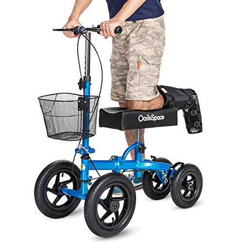 OasisSpace All Terrain Knee Scooter | with 12 inches Air Filled Wheels, Steerable Knee Walker Heavy Duty Crutches for Foot Injuries Ankles Surgery (Blue) (Best Crutches For Foot Surgery)