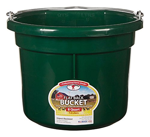 Miller Manufacturing P8FBGREEN Flat Back Bucket for Dogs and Horses, 8-Quart, Green