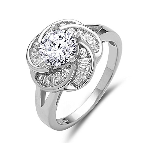 .925 Sterling Silver Jewelry Clear Round-Cut CZ with Baguette Swirl Flower Side Ring (6) (Baguette Ring Sides)