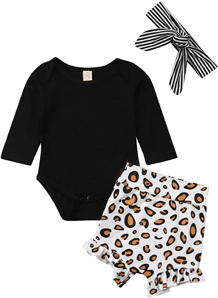 Aaaaamber New Crawl Baby Boy Girl Spring Summer Suit Half Sleeve Rompers Leopard Print Shorts Striped Headband 0-24m,Black