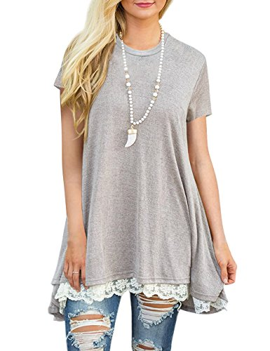 (Haola Women's Tunic Tops Short Sleeve Lace Scoop Neck A-Line Casual T-Shirt Blouse Grey S)