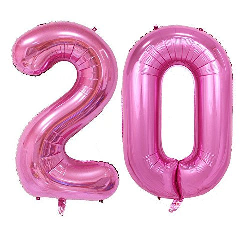 Tellpet Pink Number 20 Balloon, 40''