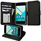 Abacus24-7 BLU Advance Leather Wallet Case Flip Cover for A010U Phone with Card Holder and Kickstand - Large - Black