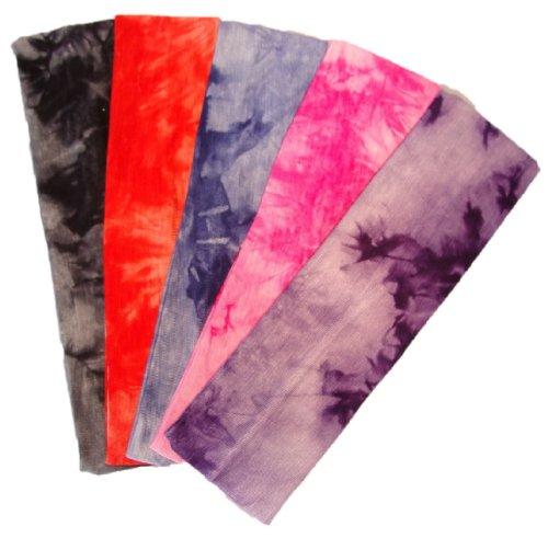 Kenz Laurenz Cotton Lycra Tie Dye Stretch Headbands 5 Pack - Cotton Stretch Headbands