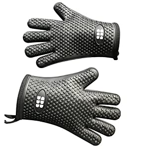SBDW Heat Resistant BBQ Cooking Gloves & Oven Mitts. Insulated Silicone With Protective Lining. Versatile & Waterproof For BBQ Grill, Oven, Fire Pit, Campfire & Smoking - 3 Colors (Black)
