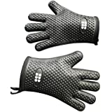 Heat Resistant BBQ Cooking Gloves - Oven Mitts By SBDW. Insulated Silicone With Protective Lining. Versatile & Waterproof For BBQ Grill, Deep Fry, Fire Pit, Campfire & Meat Smoking. 3 Colors (Black)