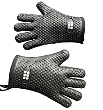 Heat Resistant BBQ Cooking Gloves & Oven Mitts. Insulated Silicone With Protective Lining. Versatile & Waterproof For BBQ Grill, Oven, Fire Pit, Campfire & Smoking. 5 Star Rated, In 3 Colors (Black)