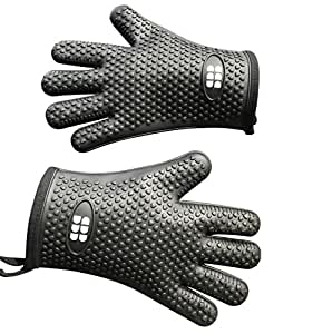 SBDW - Silicone Heat Resistant BBQ, Oven, Grill, Baking & Cooking Gloves - Indoor & Outdoor, Meat Turner, Oven Mitts & Non-Slip Potholders – Internal Heat Protective Cotton Layer (Black)