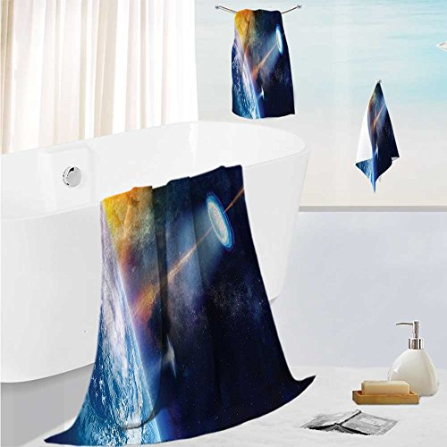 SCOCICI1588 Soft Bathroom Towel Set Warning Signs with Alien ces Heads Galactic Paranormal Activity Soft, Fade-resistant 13.8''x13.8''-11.8''x27.6''-27.6''x55.2'' by SCOCICI1588