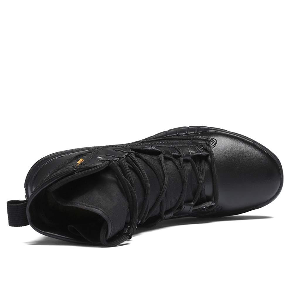 YAN Männer High-Top-Stiefel 2018 Herbst Winter Knöchel Armee Lace Kampf Schuhe kausalen Outdoor Lace Armee up Futter Round-Toe Stiefel schwarz braun (Farbe   Schwarz Größe   45) 905d8d