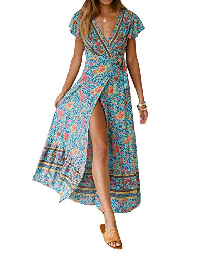 Women's Dresses Summer Wrap V Neck Floral Boho Beach Split Maxi Dress Green