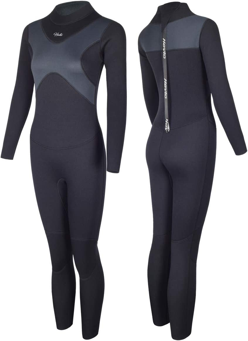 Hevto Wetsuits X Men and Women 3mm Neoprene Full Scuba Diving Suits Surfing Swimming Long Sleeve Back Zip for Water Sports