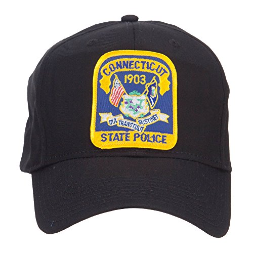 E4hats Connecticut Police Seal Patched Cotton Twill Cap - Black - Hat Cotton Police