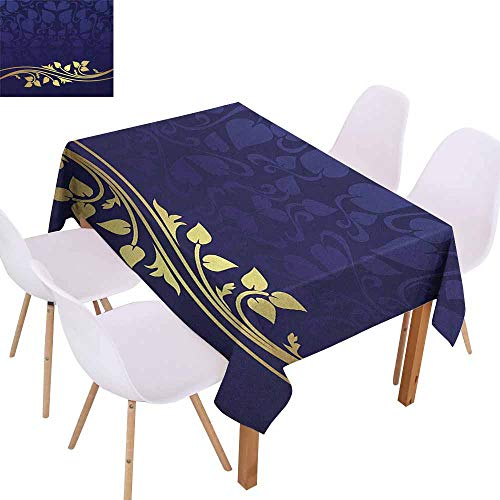 Marilec Rectangular Tablecloth Navy Blue Romantic Royal Leaf Pattern with Golden Colored Floral Branch with Leaves Easy to Clean W52 xL72 Dark Blue and Gold ()
