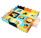 MQIAOHAM Kids Floor Mat Multicolor Exercise EVA Foam Mats for Kids Play Area Puzzle Tiles Baby Puzzle Interlocking Soft Foam Activity Play Mat Set Tiles Floor Inter-Locking Mats