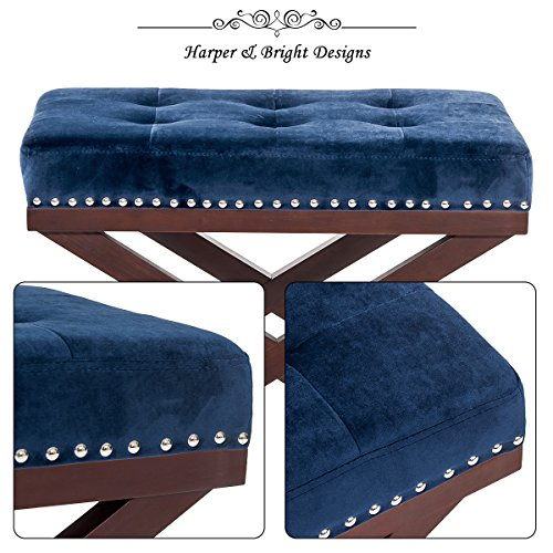Harper&Bright Designs Upholstered Tufted X Bench Ottoman with Nailhead Detail and Solid Wood Legs (Indigo) by Harper&Bright Designs (Image #3)
