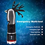 Glumes Multifunctional 9 IN 1 Mini Led Flashlight, 3 Mode 60-Lumen With Multi-Tool Glass Circuit Breaker, Seat Belt Knife, Screwdriver, Scissors, Bottle Opener & Nut Wrench Outdoor Camping Hiking (Multicolor)