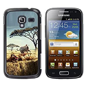 Qstar Arte & diseño plástico duro Fundas Cover Cubre Hard Case Cover para Samsung Galaxy Ace 2 I8160 / Ace2 II XS7560M ( Safari Zebra Lion Africa Wild Animal Trees)