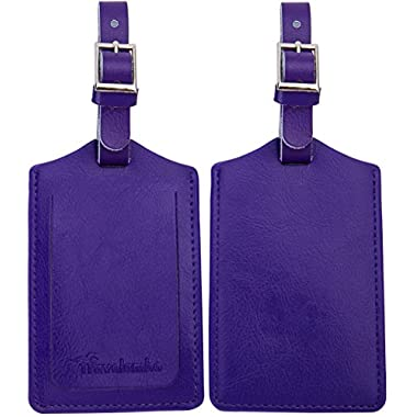 Travelambo Genuine Leather Luggage Bag Tags 2 Pieces Set (purple)