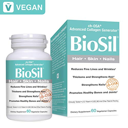 BioSil by Natural Factors, Hair, Skin, Nails, Supports Healthy Growth and Strength, Vegan Collagen, Elastin and Keratin Generator, 60 capsules (60 servings) (FFP) ()