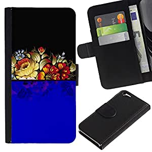 KingStore / Leather Etui en cuir / Apple Iphone 6 / Arreglo floral azul Negro Vintage Retro