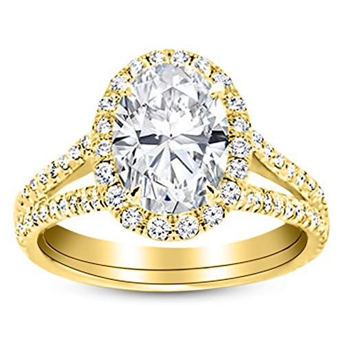 1.5 Ctw 14K Yellow Gold Split Shank Oval Cut GIA Certified Diamond Engagement Ring (1 Ct E Color SI1 Clarity Center Stone) (Oval Diamond Graded Gia)