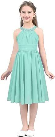 ranrann Kids Girl Rhinestone Halter Neck Chiffon Flower Girls Dress Bridesmaid Wedding Party Gown