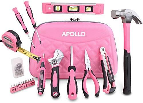 Apollo 21Delige Roze Dames Gereedschapsset voor Thuis in een Tas met Ritssluiting Set met Handgereedschap voor Alle Huishoudelijke KlussenEen Praktisch Geschenk Voor Nieuwe Huiseigenaars