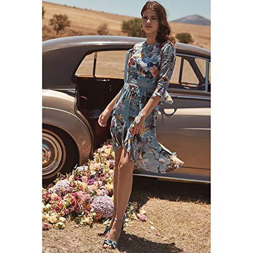Little Estampado Para Vestido Midi Con Floral Mujer Volantes Y Azul Mistress arZqY7a