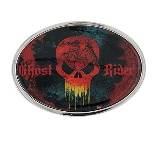 Marvel Comics Ghost Rider Red Black Silver Oval Belt Buckle