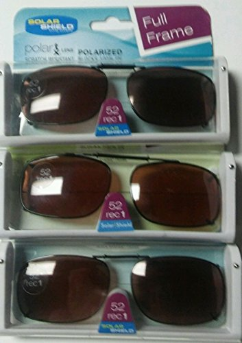 Shield Brown Lens - SET OF 3- SOLAR SHIELD 52 REC 1 Brown Full Frame POLARIZED CLIP ON SUNGLASS SCRATCH RESISTANT LENSES NEW
