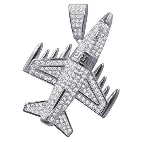 Mens 14K White Gold Finish Pendant Airplane Jet Pave Charm Simulated Diamond -