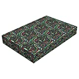 Lunarable Paisley Dog Bed, Iranian Traditional Art Paisley Teardrop Shape with Sixties Rainbow Color Palette, Durable Washable Mat with Decorative Fabric Cover, 48'' x 32'' x 6'', Multicolor
