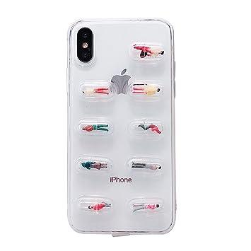 8c3f746f97 GuoDuo 男女兼用 iPhone X ケース クリア TPU 3D 立体 カプセル 人形 ストラップホール付き ソフト